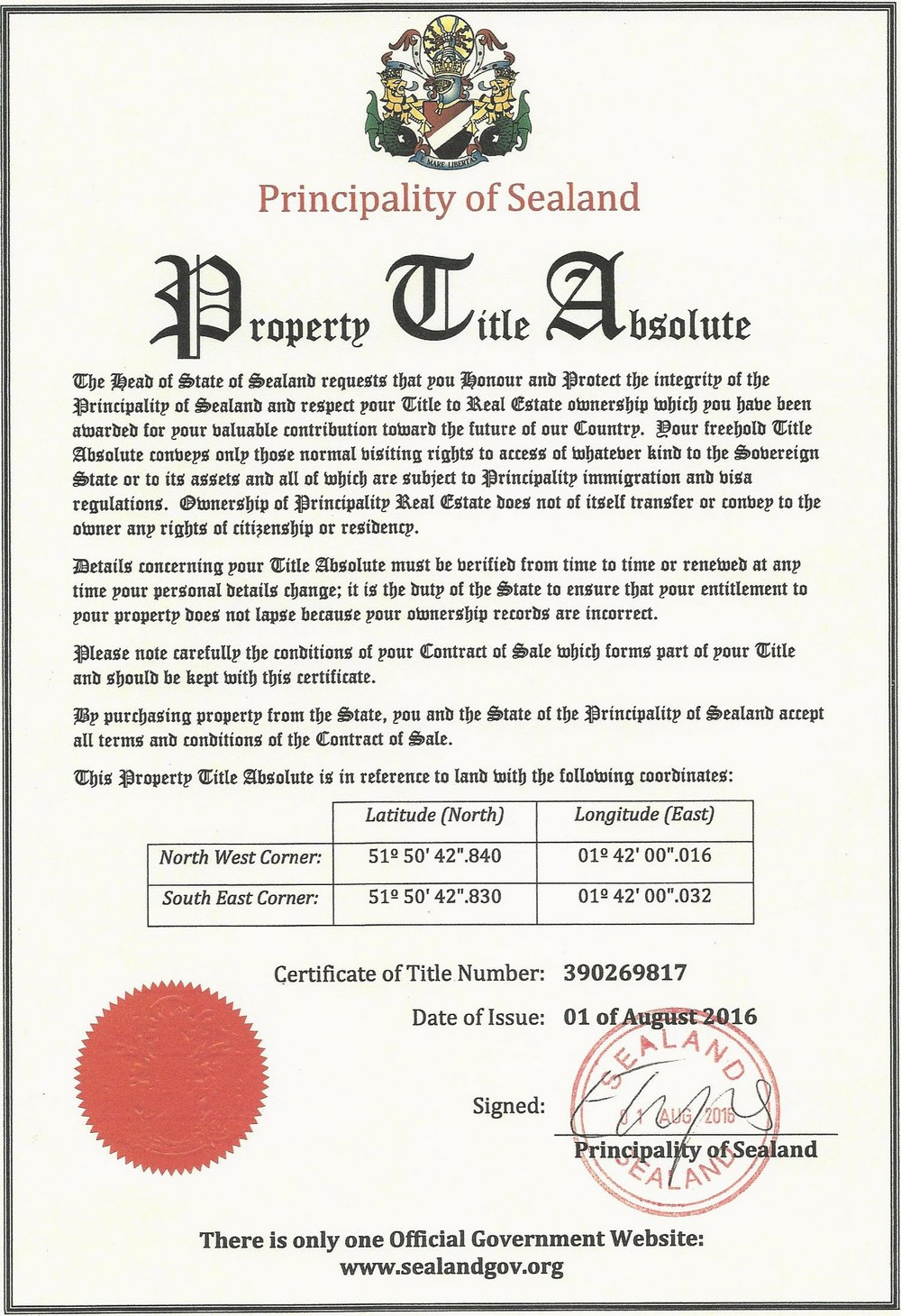 Property Title Certificate